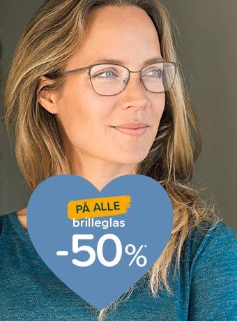 50% på alle brilleglas